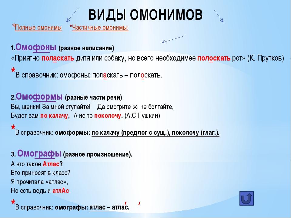 Для чего нужны и что такое слова омонимы в русском языке