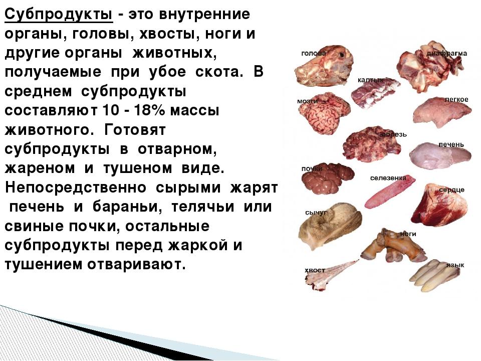 Субпродукты мясные - что это такое, их калорийность, рецепты