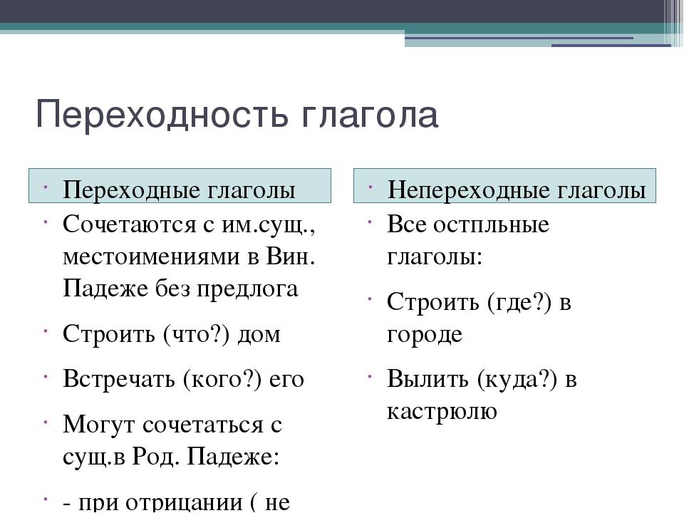 Переходные и непереходные глаголы в английском языке