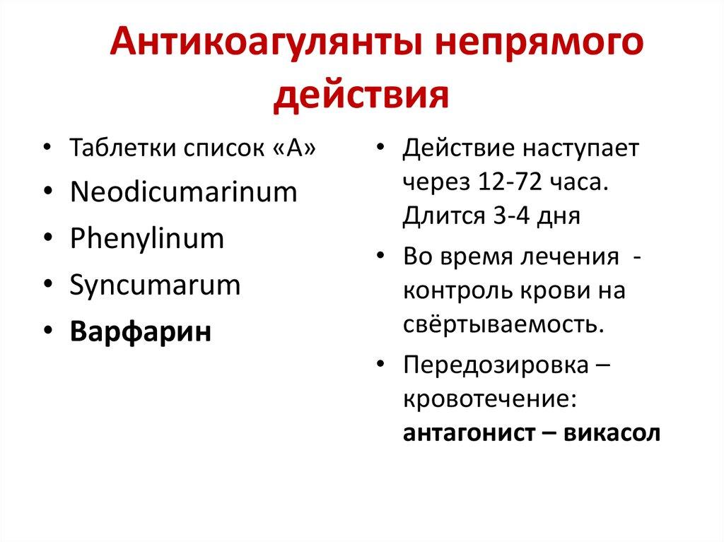Антикоагулянты крови | справочник пестициды.ru
