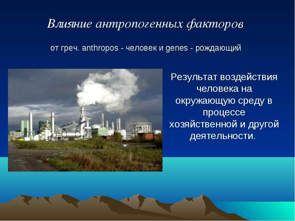 Реферат: антропогенное воздействие на окружающую среду 4