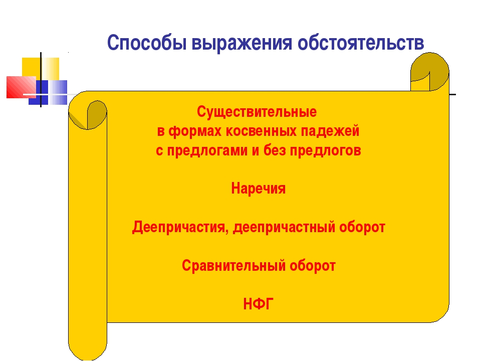 Обстоятельство в русском языке. виды обстоятельств и примеры предложений