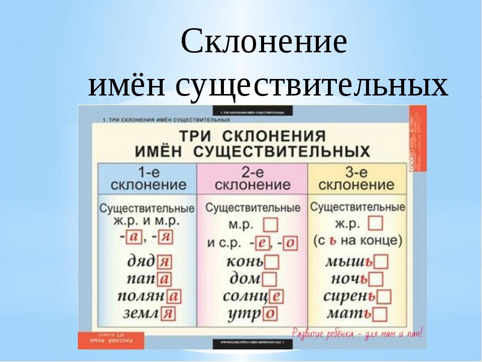 1, 2, 3 склонение существительных - таблица с примерами
