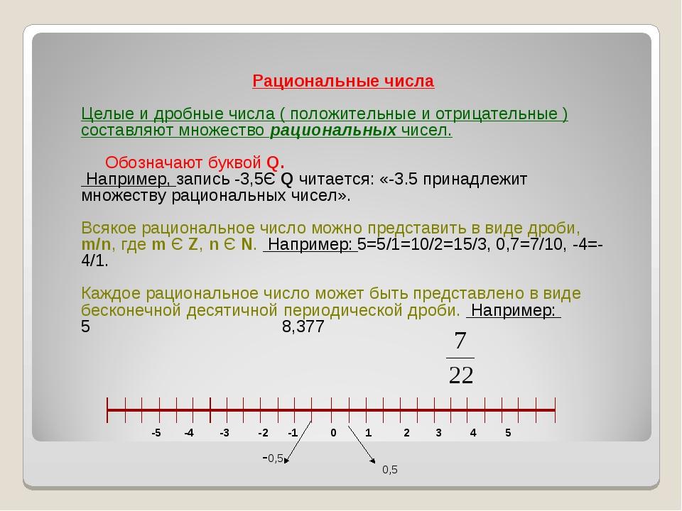 Понятие о вещественных (действительных) числах, рациональные и иррациональные числа