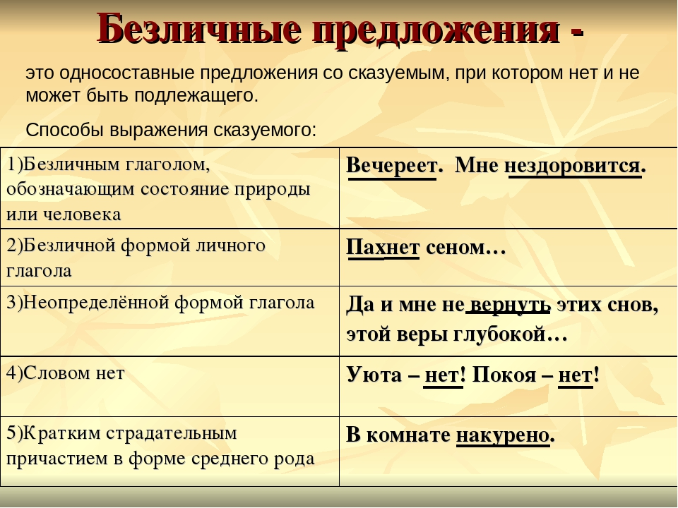 Личные и безличные глаголы - правило (примеры)