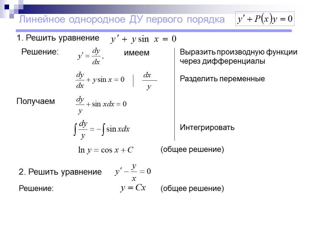Типы дифференциальных уравнений