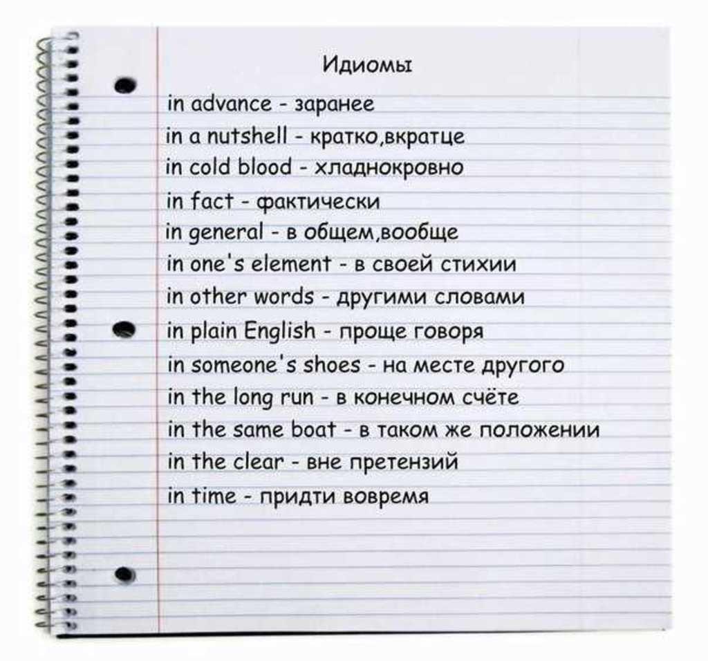 Топ 100 самых важных английских идиом