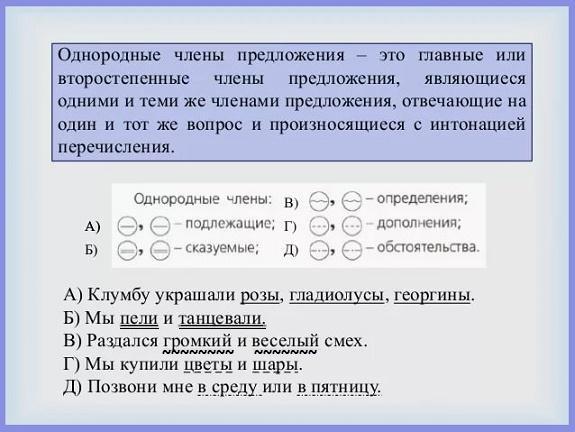 Однородные члены предложения - это... (25 примеров)