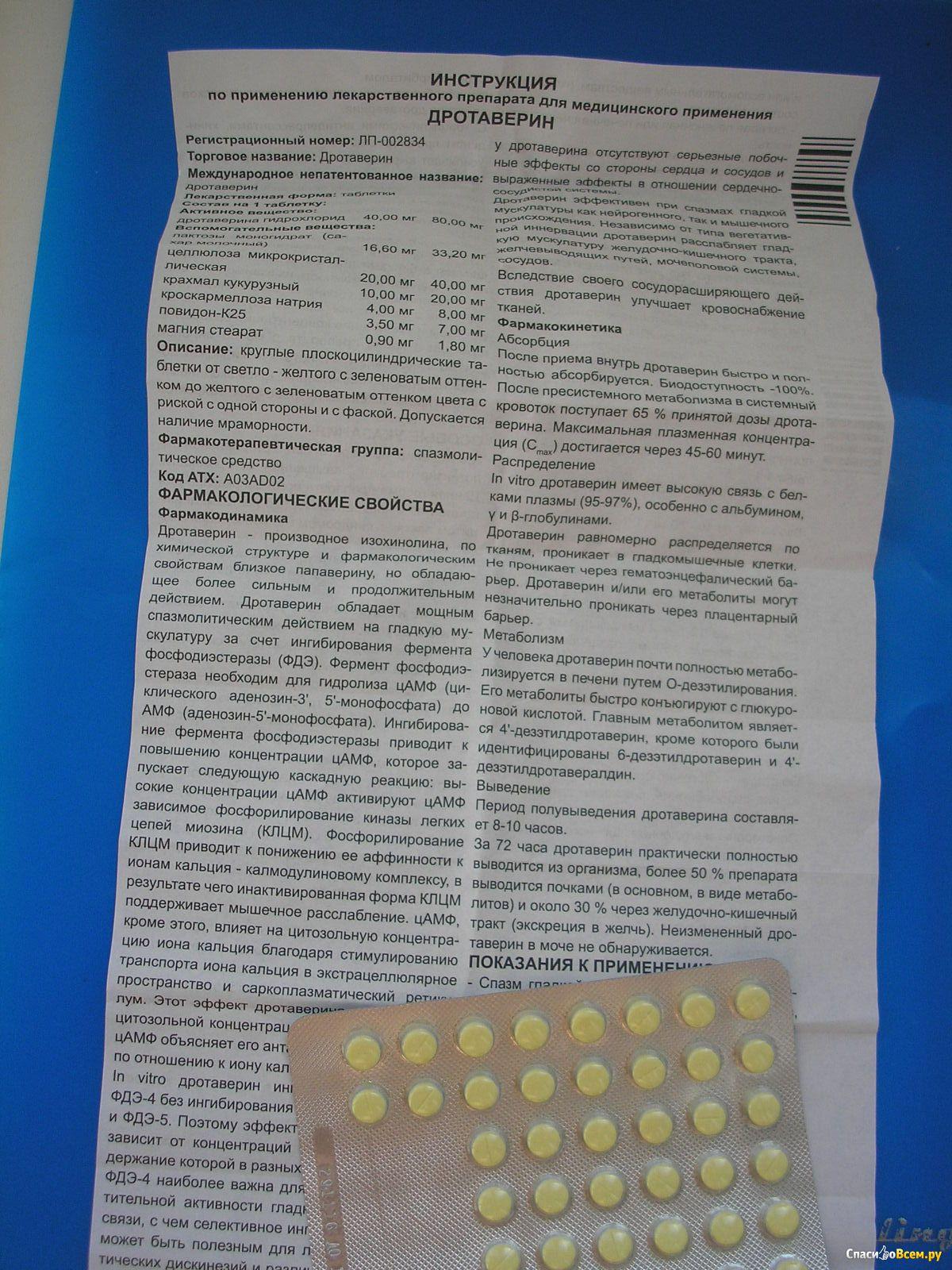 Дротаверин — инструкция по применению, описание, вопросы по препарату