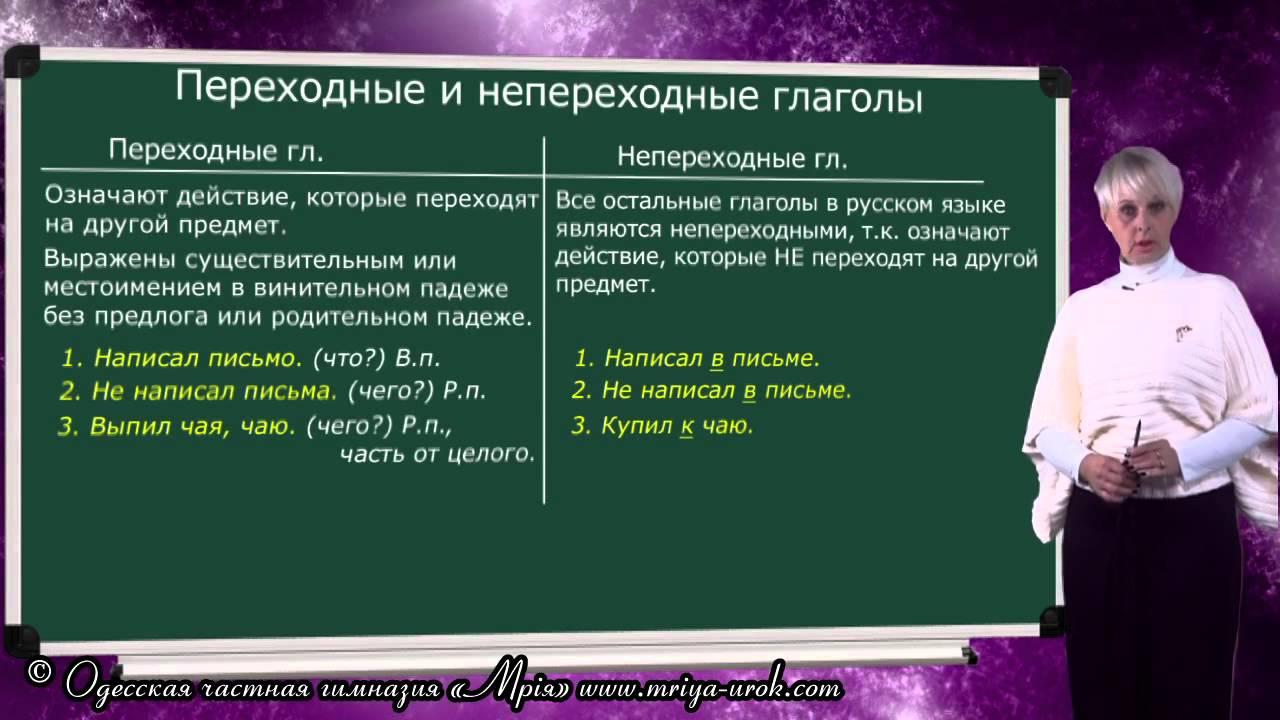 Переходные и непереходные глаголы (примеры)