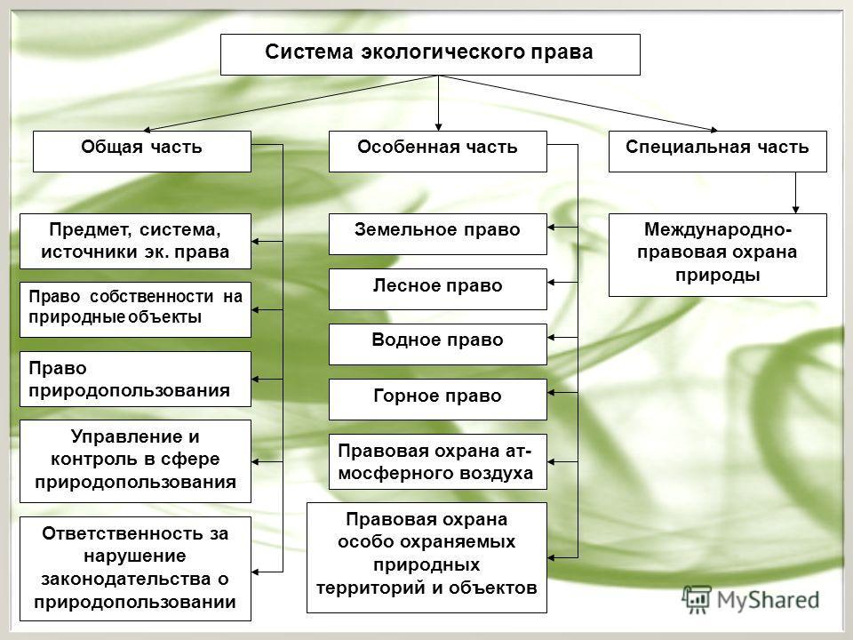 Особенности экологического права