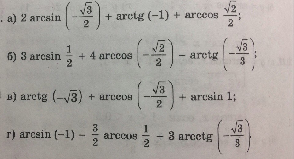 Арксинус, арккосинус, арктангенс и арккотангенс – начальные сведения
