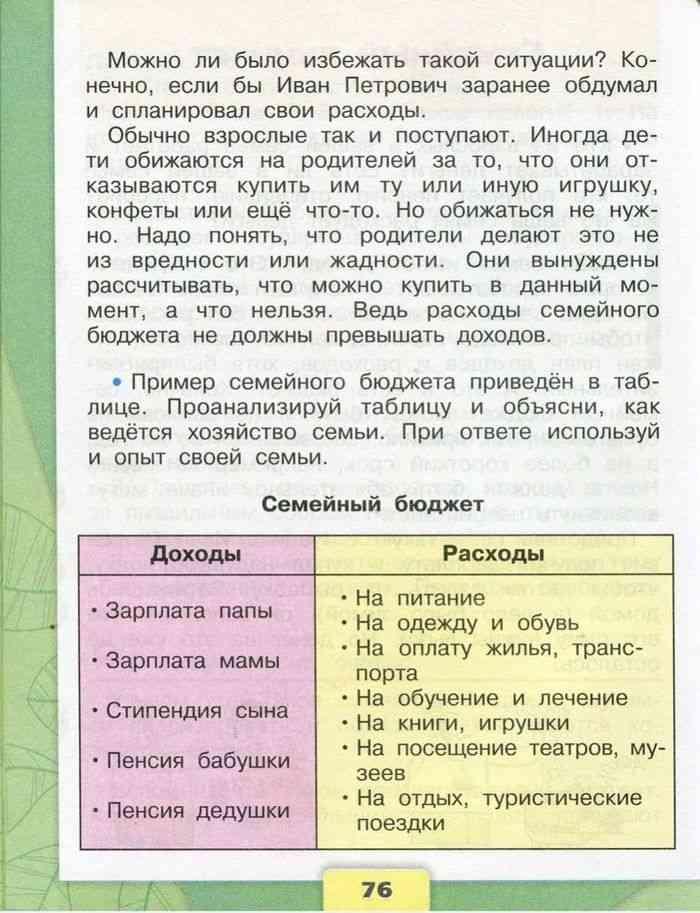 Семейный бюджет стр. 75 - 78 окружающий мир 3 класс 2 часть