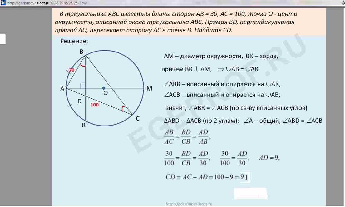 Окружность, описанная около треугольника.треугольник, вписанный в окружность. теорема синусов