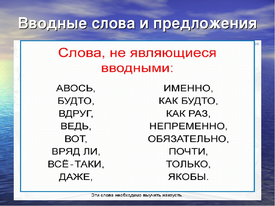 Вводные слова - это... примеры, таблица, запятые при вводных словах