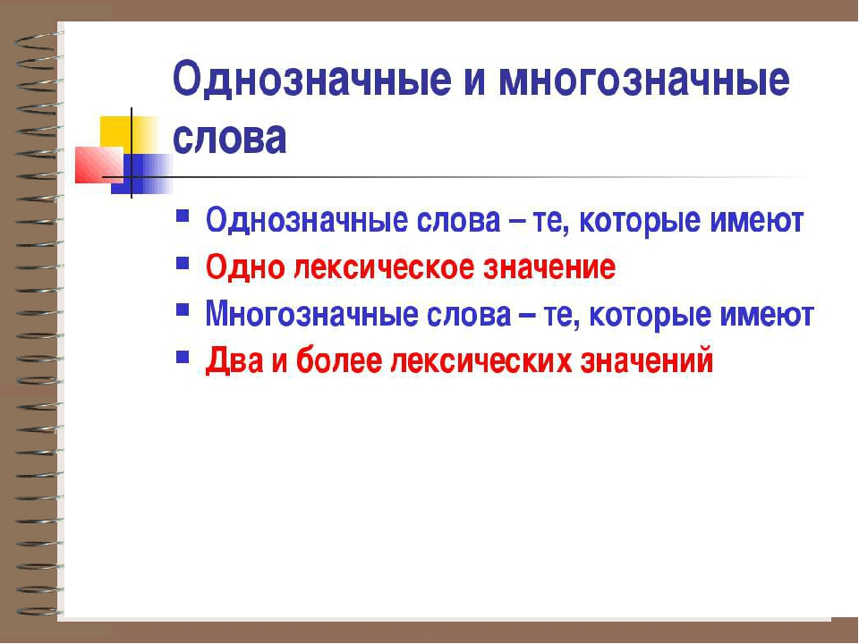 Однозначные и многозначные слова – примеры в русском языке (2 класс)