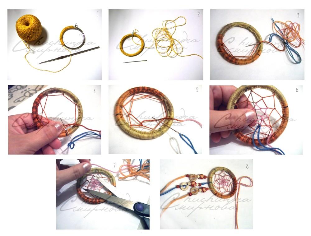 Пошаговая схема плетения ловца снов: 4 мастер-класса