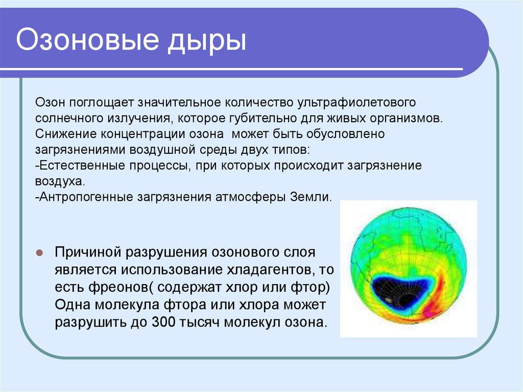 Озоновые дыры: где они находятся и причины их появления