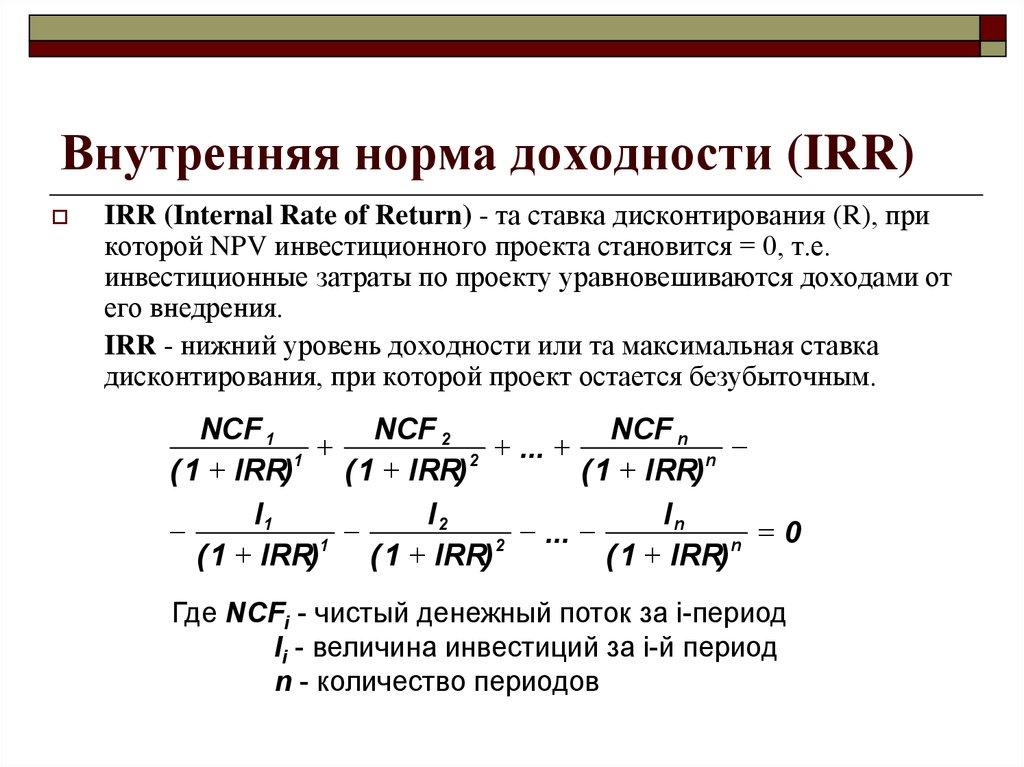 Внутренняя норма доходности инвестиционного проекта (irr)