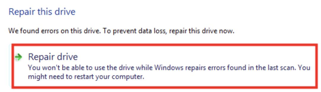 Как исправить сканирование и восстановление диска c, застрявшего в 100%.