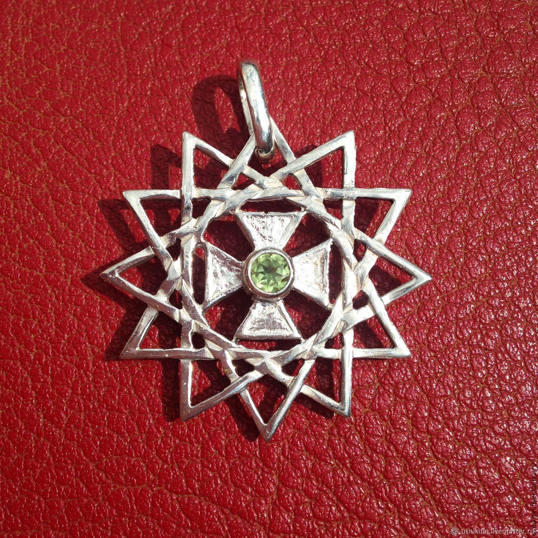 Церковная звезда эрцгаммы из серебра 925 пробы в позолоте