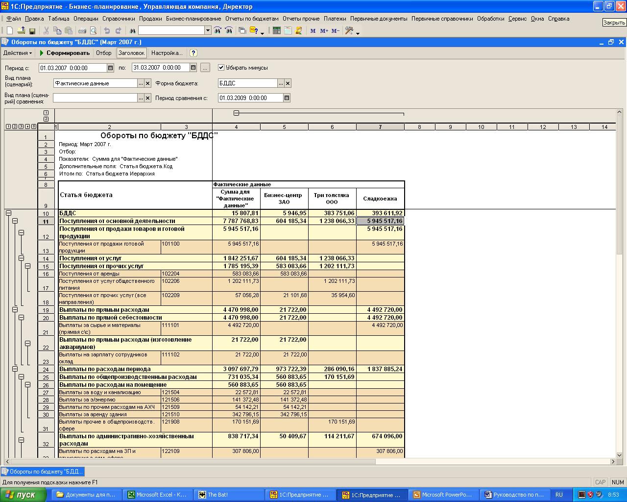 Отчет бддс (бюджет движения денежных средств) по текущей деятельности