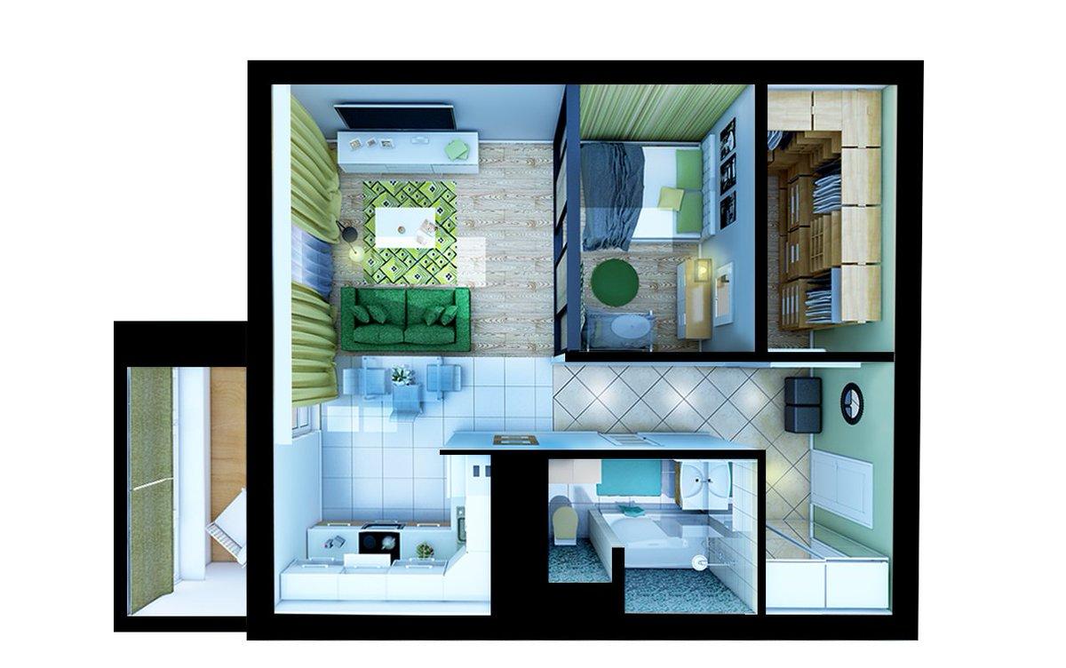 Дизайн интерьера и планировка евродвушки