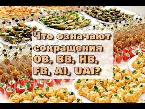 Типы питания в отелях,  расшифровка в таблице