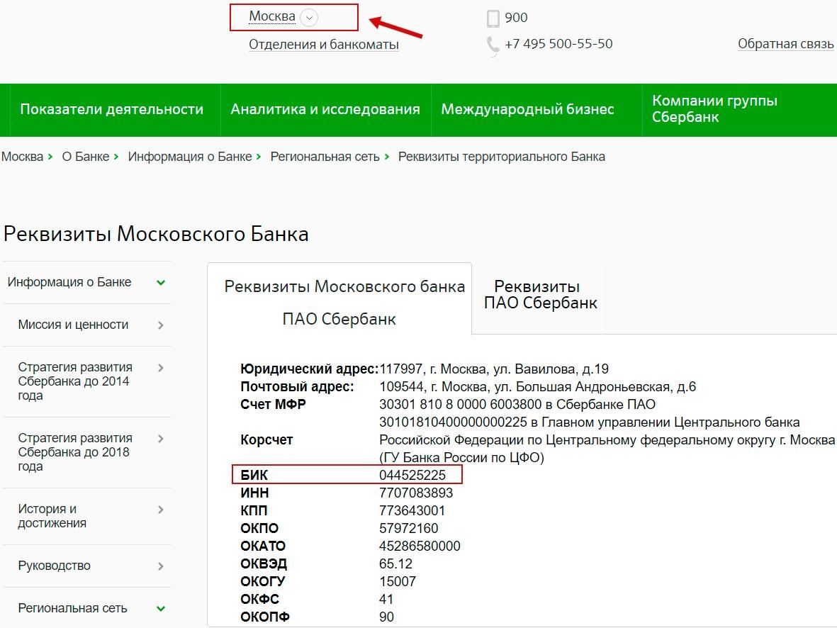 Реквизиты пао «сбербанк россии»