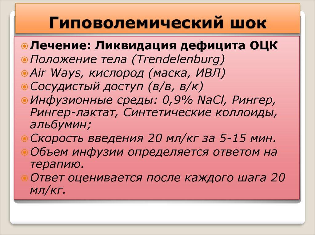 Симптомы гиповолемии