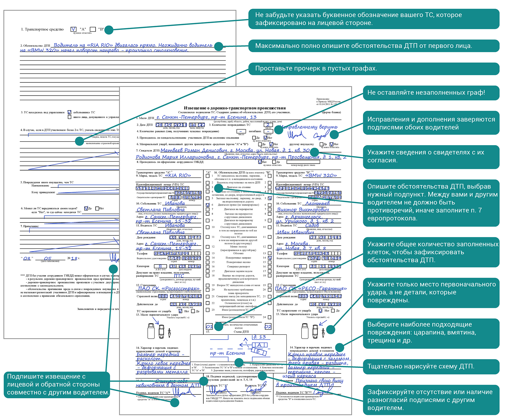 Как составлять европротокол при дтп правильно - образец и правила