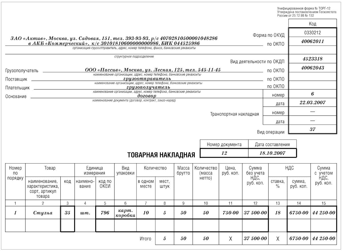 Товарная накладная и счет-фактура: для чего нужны, одна или несколько, скачать образец бланка унифицированной формы торг 12, как создать и нужна ли печать?