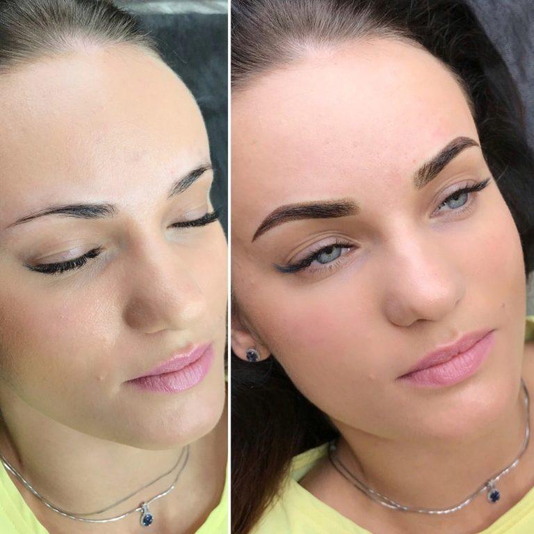 Напыление бровей - фото до и после, что это такое, сколько держится, отзывы