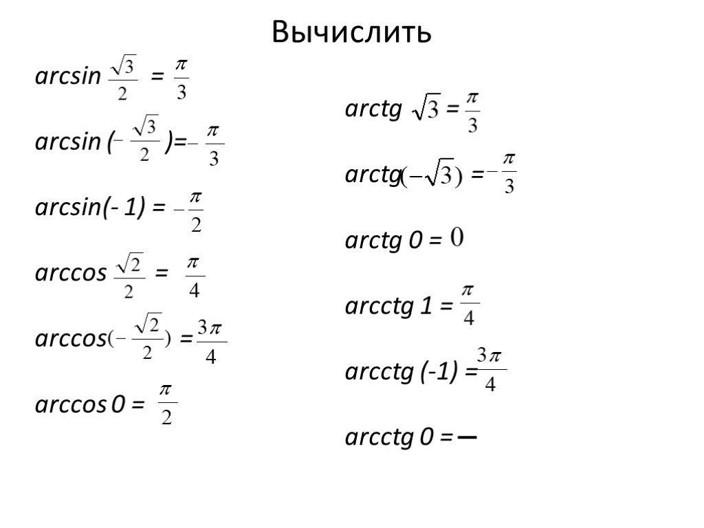 Арктангенс и арккотангенс. онлайн калькулятор