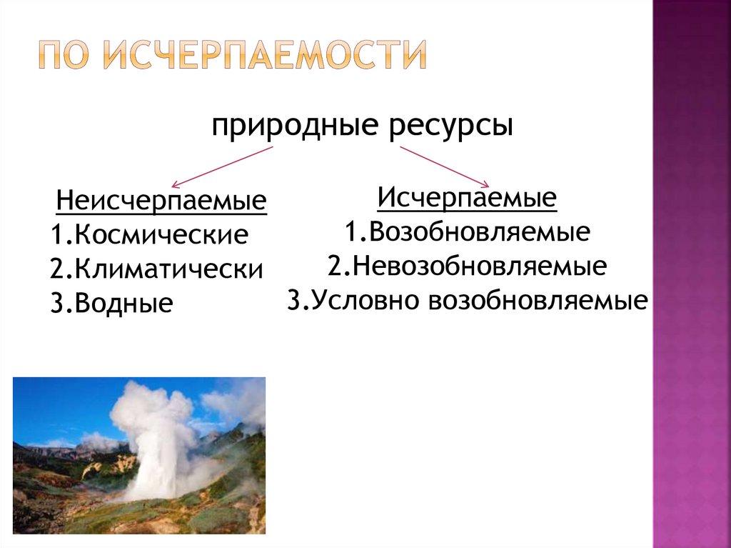 Исчерпаемые и неисчерпаемые ресурсы регионов россии