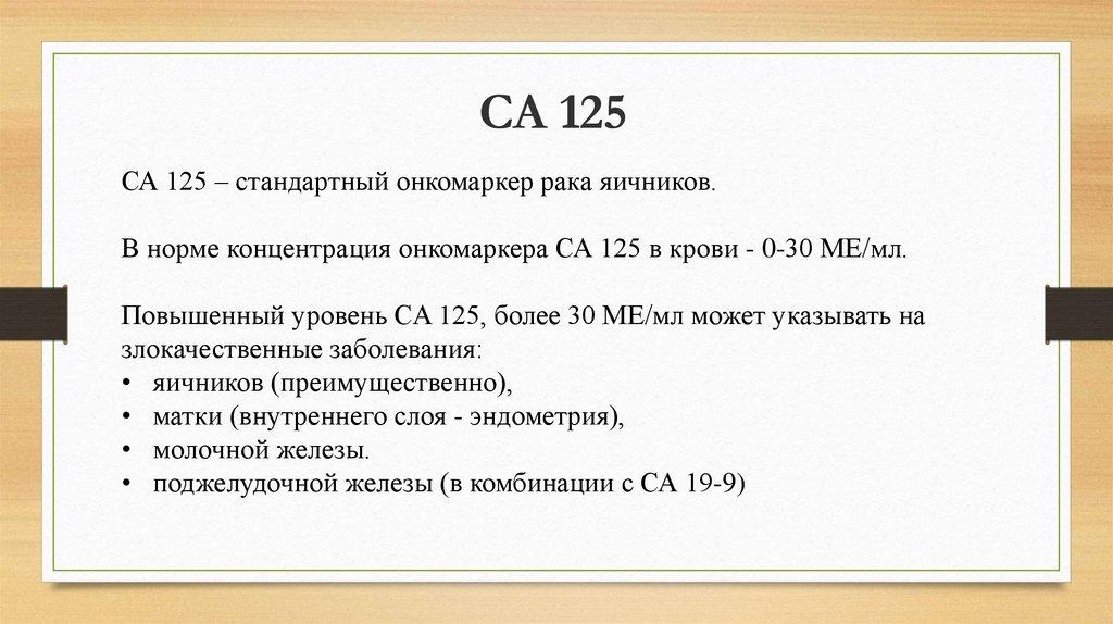 Что показывает онкомаркер са-125: нормы и расшифровка анализа