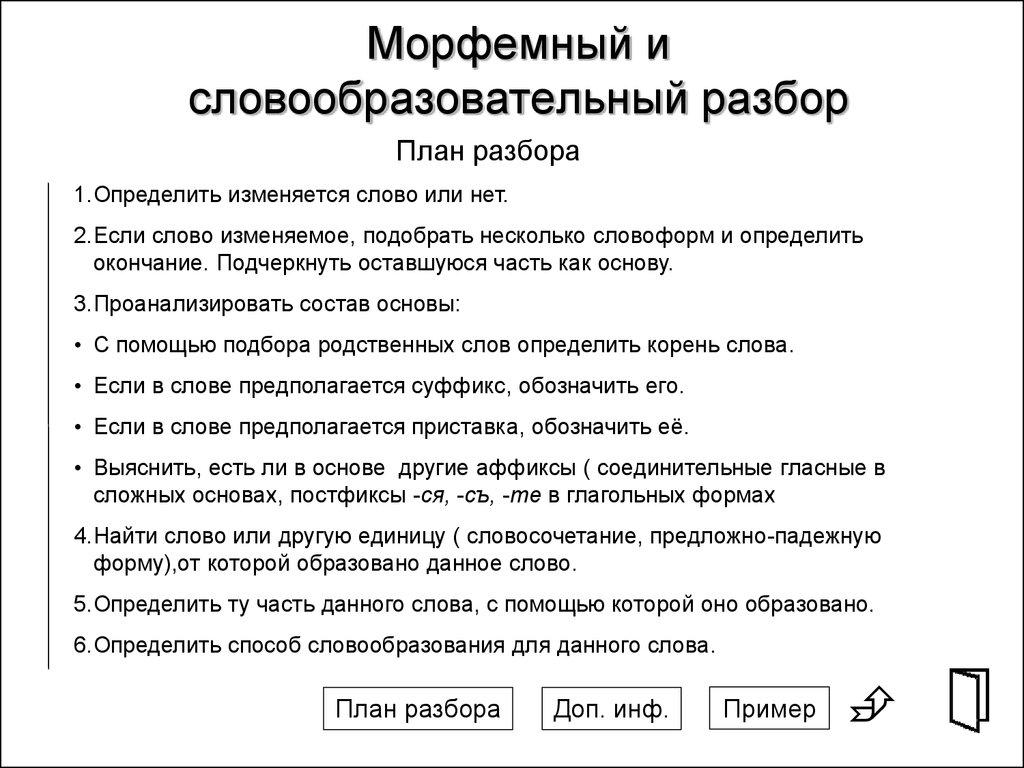 Как сделать словообразовательный разбор слова в русском языке