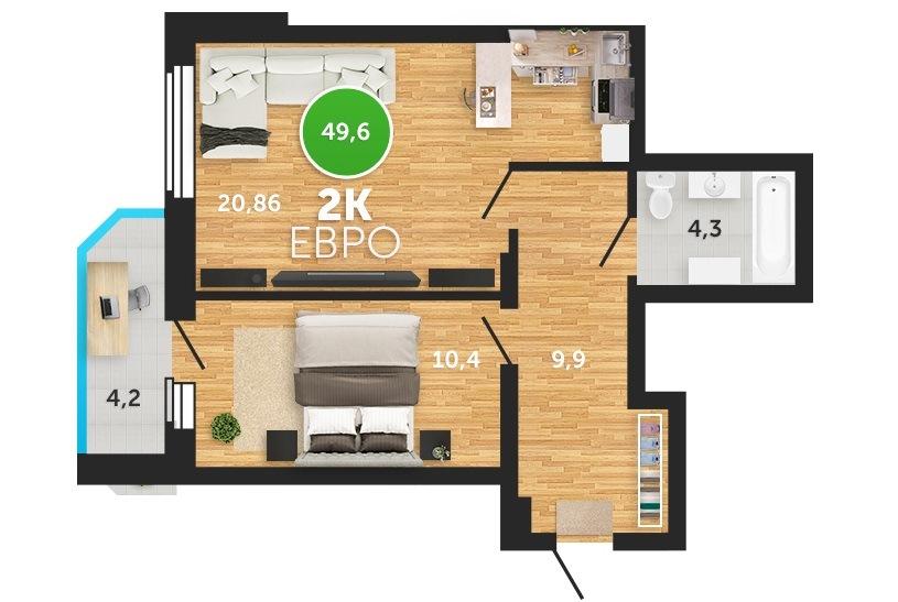Европланировка двухкомнатной квартиры