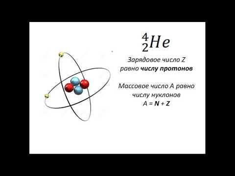 Массовое число (масса атома) и зарядовое число (количество протонов)