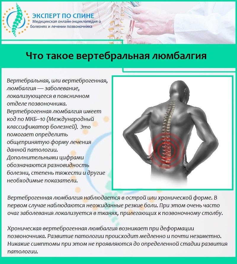 Люмбалгия поясничного отдела - симптомы, лечение, профилактика