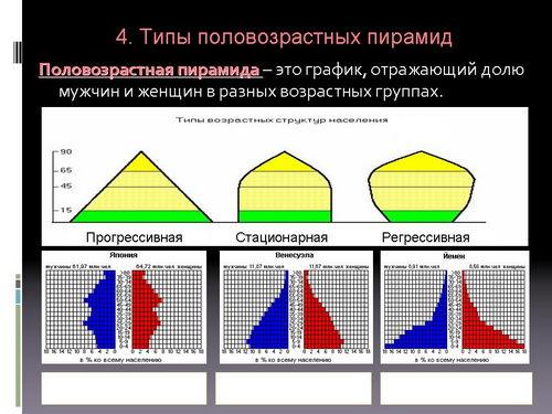 анализ половозрастной пирамиды россии с 1946 по 2036 гг