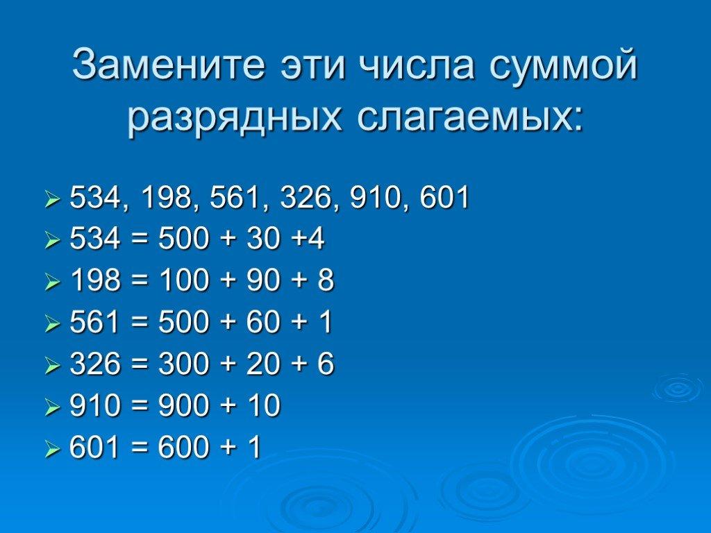 Сумма разрядных слагаемых натурального числа.