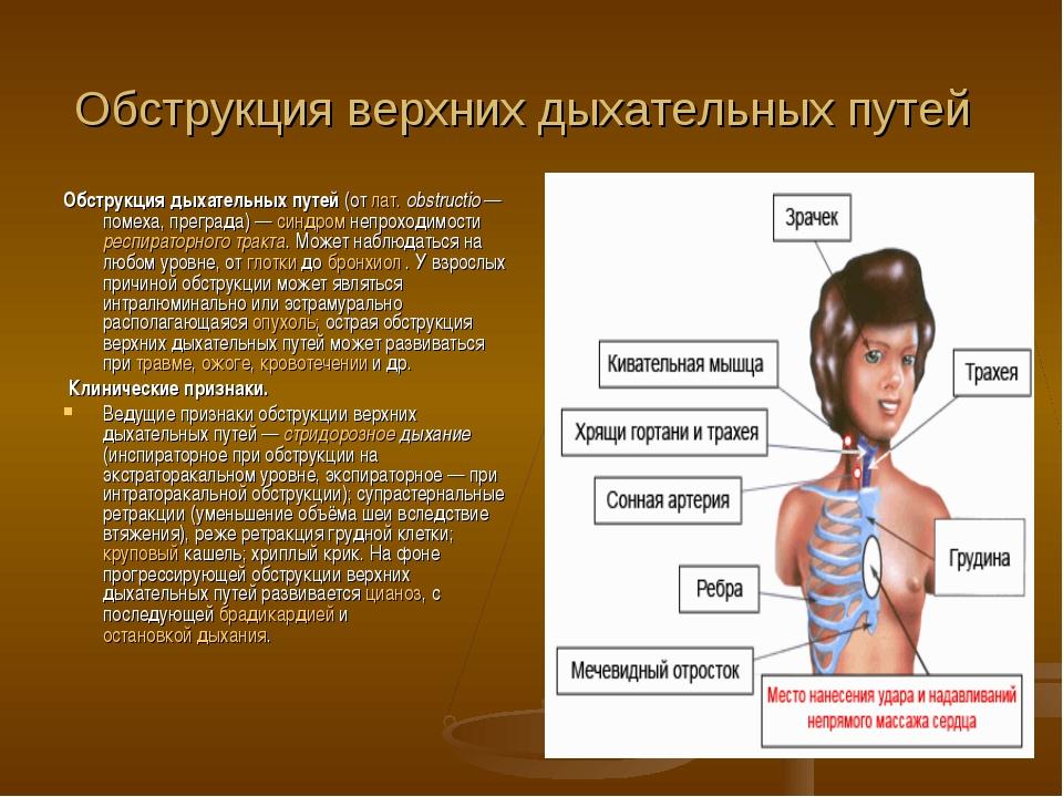 Обструкция дыхательных путей: что это такое, причины, оказание первой помощи