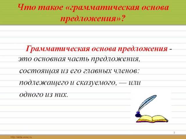 Грамматическая основа предложения: что составляет основу и схема этого в сложных конструкциях, как определить главные члены и их виды
