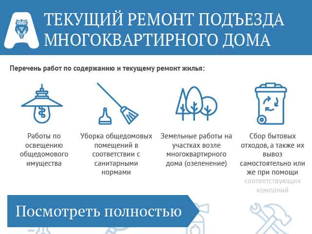 Перечень работ по текущему ремонту многоквартирного дома