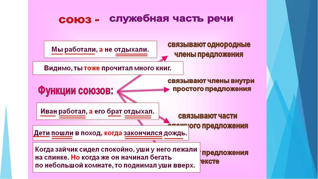 Сочинительные союзы – виды в таблице, определение и правило по русскому языку