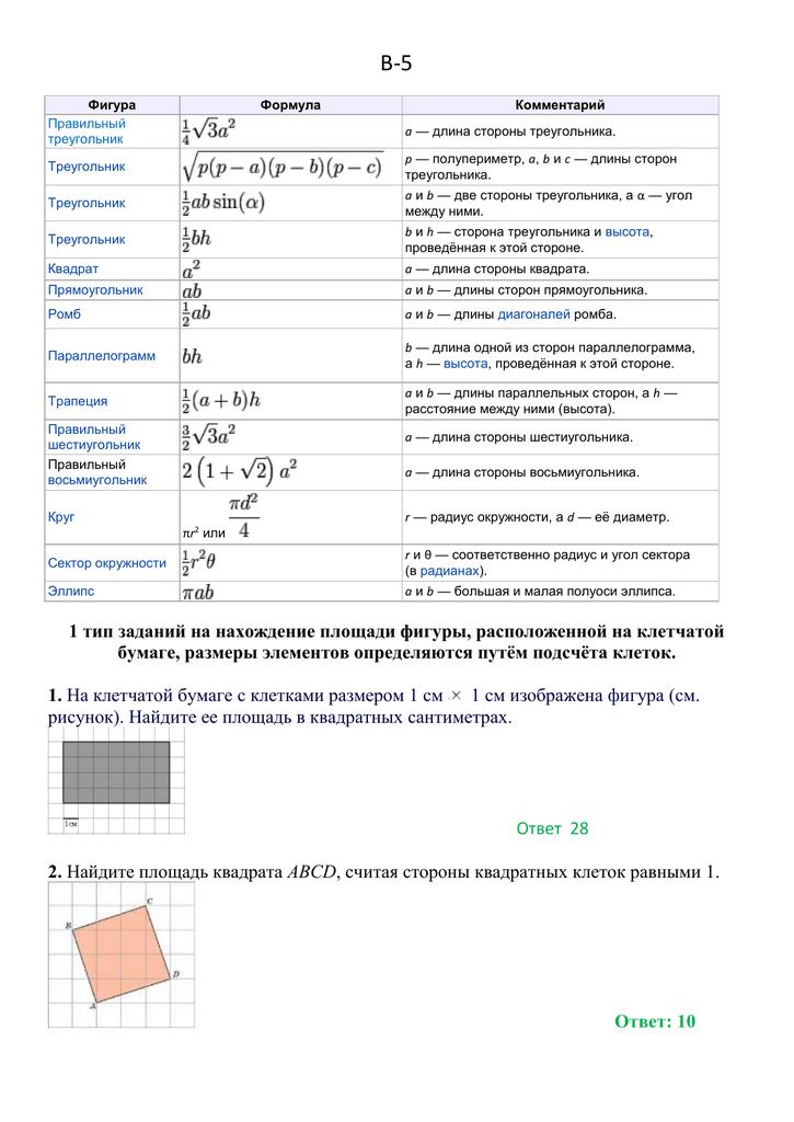 Формулы площади геометрических фигур.