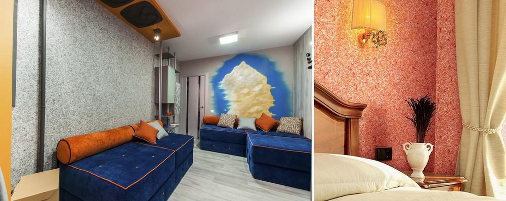 Жидкие обои: как сделать своими руками в домашних условиях, можно ли нанести на потолок, как самому обработать поверхность, а также фото