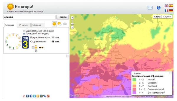 | прогноз уф-индекса и толщины озонового слоя |