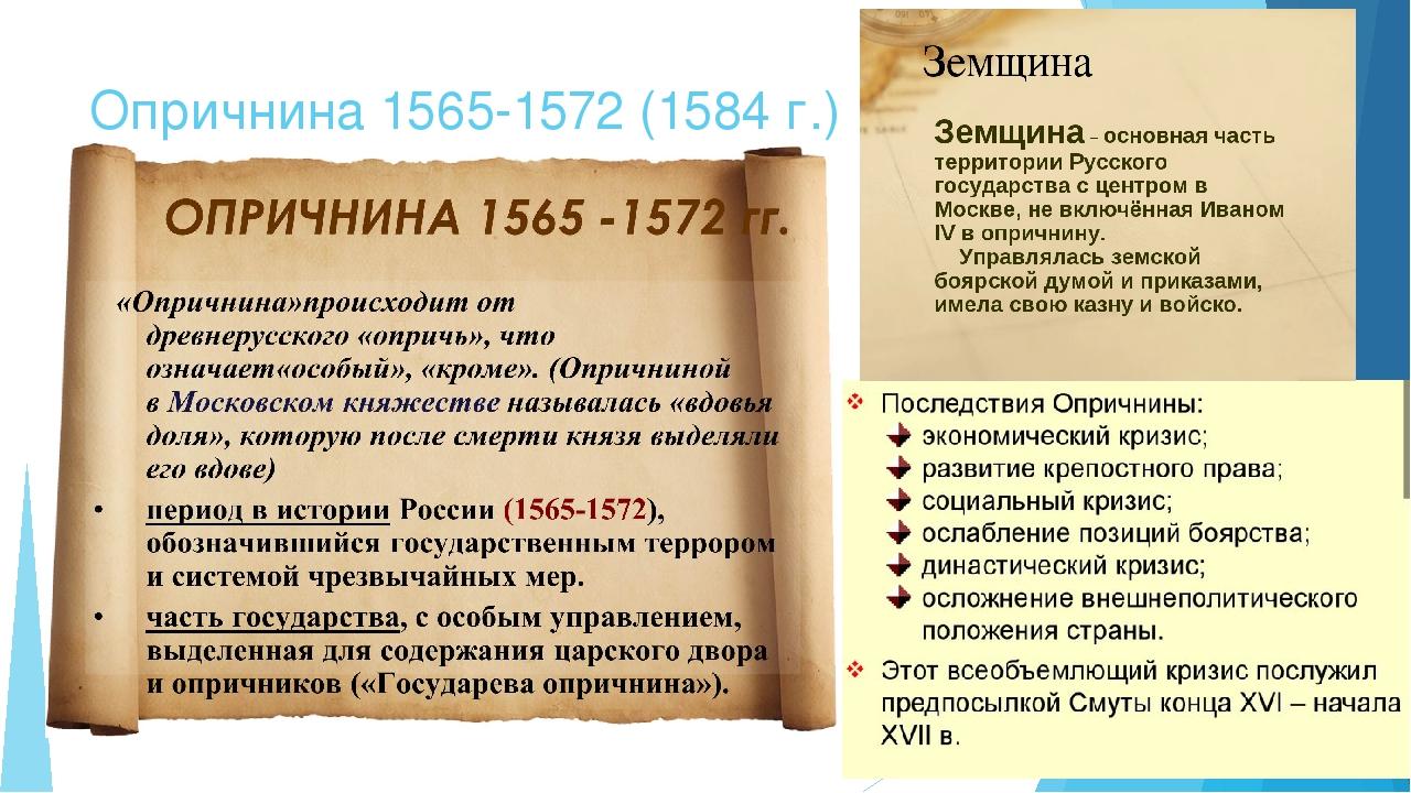 Земщина 1564–1572 гг.